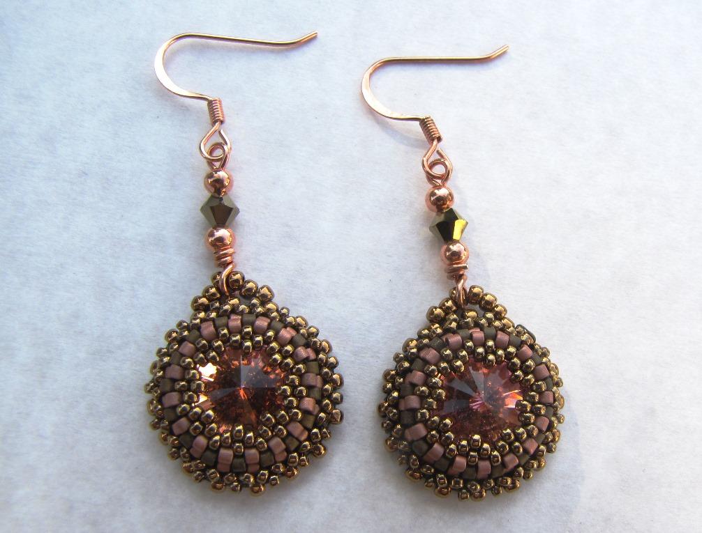 beaded rivoli earrings morning green